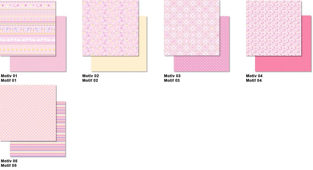 ursus scrapbook paper 30 5x30 5cm 25 blatt baby rosa ursus bastelmaterial scrapbooking. Black Bedroom Furniture Sets. Home Design Ideas
